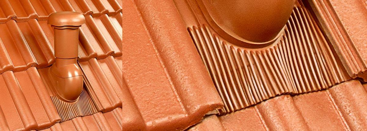 Klöber Rovia v rdeči barvi na betonski strehi, za poševne strehe
